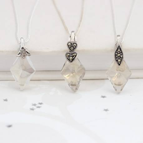 Vintage Crystal Wedding Pendant Necklace, vintage jewellery for a bride and bridesmaids