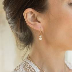 white pearl drop wedding earrings with silver, gold or rose gold heart pearl jewellery for a bride