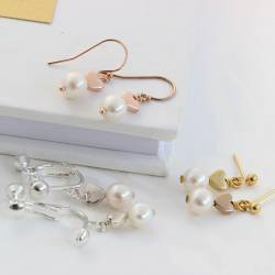 Pink Pearl with Silver Heart Earrings