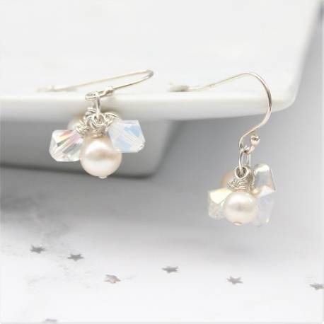 white pearl and crystal drop wedding earrings on silver fish hooks, swarovski jewellery for a bride