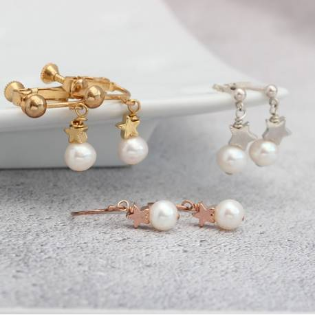 white pearl drop wedding earrings with silver, gold or rose gold star, pearl jewellery for a bride