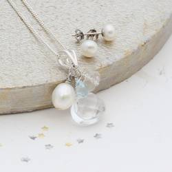 crystal, pearl, moonstone and blue topaz wedding pendant and pearl stud earrings, something blue jewellery for a bride