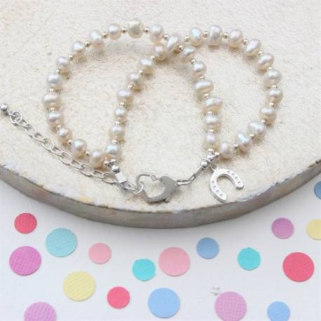 childs double white pearl bracelet, add a silver charm for perfect birthday jewellery for flower girls gifts