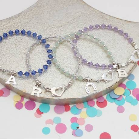 child swarovski crystal bracelets, add a silver charm for perfect birthday jewellery for flower girls gifts