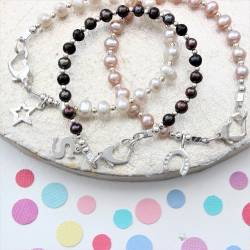 childs white, pink or peacock pearl bracelet, add a silver charm for a perfect birthday jewellery for flower girls gifts