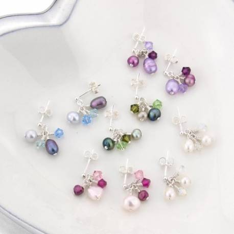 Mini cluster earrings with swarovski crystal and pearls on sterling silver studs, crystal jewellery for a little girl