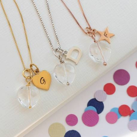 childs faceted crystal heart pendant in sterling silver rose gold or gold personalised with her initial charm