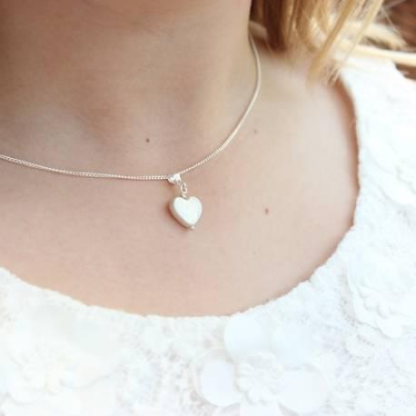 heart shaped white pearl necklace, handmade pearl jewellery gift for a little girl