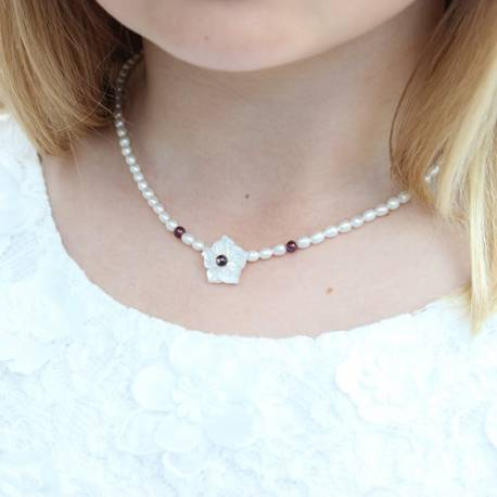 forever white pearl necklace with a pretty mother of pearl flower and red garnet beads , delicate pearl necklace for a child