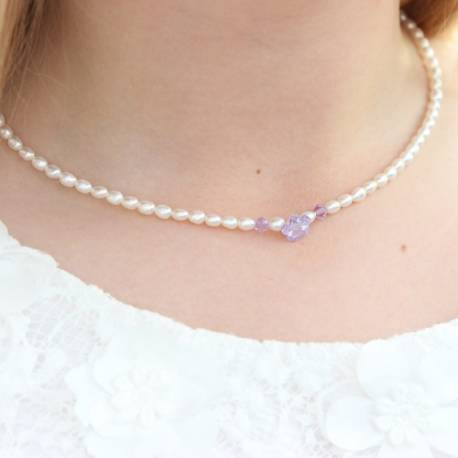 princess white pearl necklace with lavender mauve crystal flower, pearl jewellery gift for a flower girl