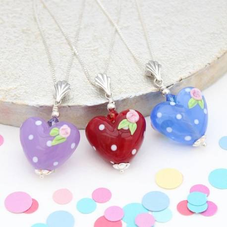lampwork heart necklaces with roses in red, blue or purple, jewellery gift for a little girl