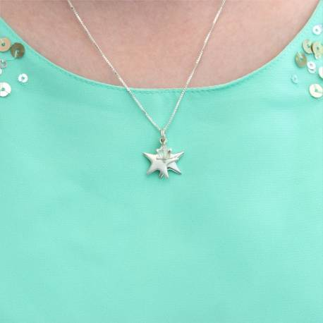 childs mini orsino triple star necklace with swarovski crystal, delicate silver jewellery gift for a little girl