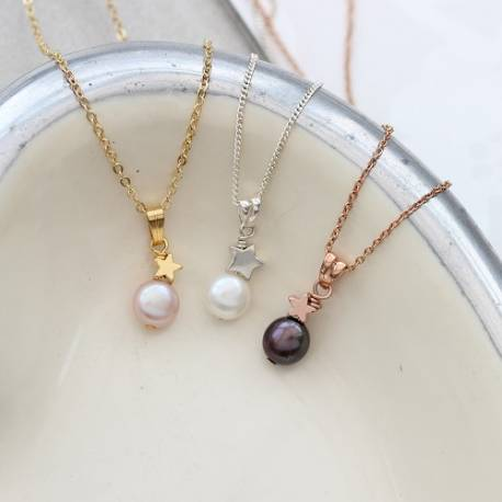 childs mini white, pink or peacock pearl pendant with silver, rose gold or gold star