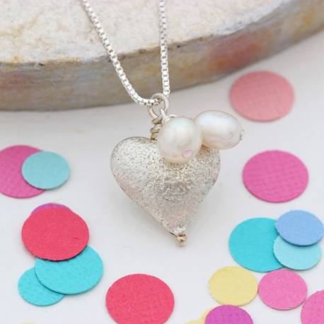rosaline childs small silver heart necklace with pearl, perfect flower girl jewellery gifts