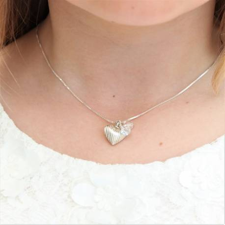 childs mini valentine silver heart necklace with swarovski crystal, delicate silver jewellery gift she will treasure