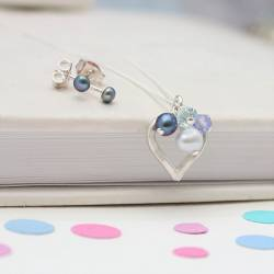 childs open heart necklace with 3mm pearl stud earrings in blue swarovski crystals and pearls