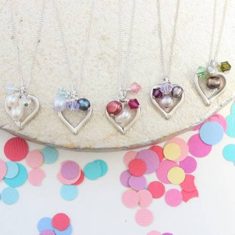 childs mini silver open heart necklace with pearls and swarovski crystals, delicate jewellery gift for her birthday