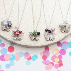 Butterfly Necklace - pink