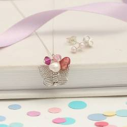 childs silver butterfly necklace and pearl stud earrings set in pink swarovski crystals and pearls