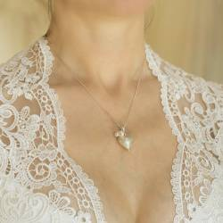 mama et moi rosaline silver heart necklaces with pearls for mother and daughter