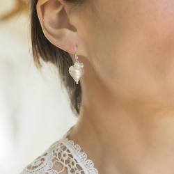 rosaline silver heart with white crystal and pearl drop earrings