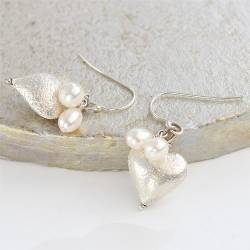 rosaline silver heart with white pearls drop earrings, pretty heart jewellery anniversary gift