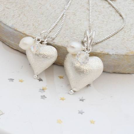 mama et moi rosaline silver heart necklace with white crystal and pearl, mum and child jewellery sets