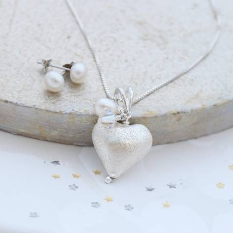 rosaline silver heart necklace with pearl and crystal with pearl stud set, delicate jewellery set for her