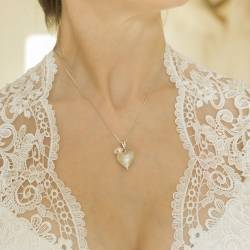 rosaline pearl or pearl and crystal silver heart necklace, a romantic gift for her