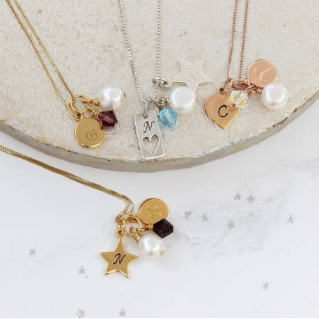 childs birthstone crystal necklace in silver, rose gold and gold for January, February, March and April gifts