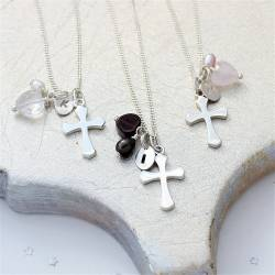 bish bosh becca handmade silver cross necklace personalised with her initial charm and a gemstone heart