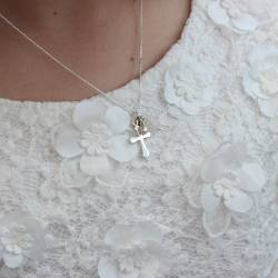 Silver Fairy Charm Necklace with Initial - pink