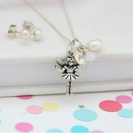 silver fairy necklace with initial charm and white swarovski crystal and pearl stud earrings, personalised jewellery set