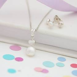 mini white pearl pendant with silver heart and pearl stud earrings, a jewellery set for a birthday girl.