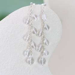 handmade faceted krystallos crystal long dangle earrings on sterling silver chain