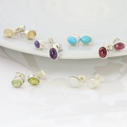 Periot and Sterling Silver Oval Stud Earrings