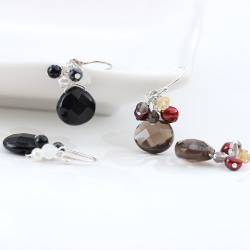 Gemstone Teardrop Briolette Drop Earrings in black and white or smokey brown quartz, citrine and pearl