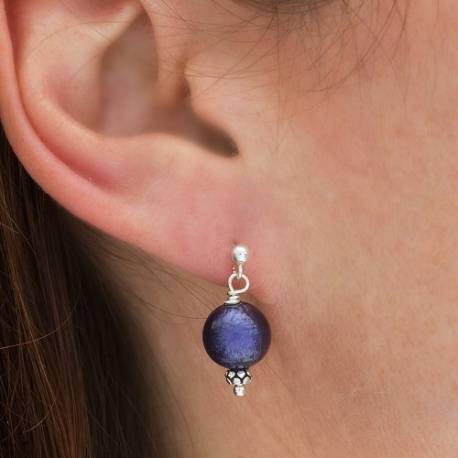 murano round glass drop earrings in deep purple on fish hooks studs or clipon for non pierced ears