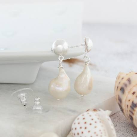 modern natural meteor pearl earrings on 8mm silver studs jewellery gifts for a modern woman