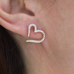open heart stud earrings with pave crystal platinum statement jewellery for a thoughtful anniversary gift