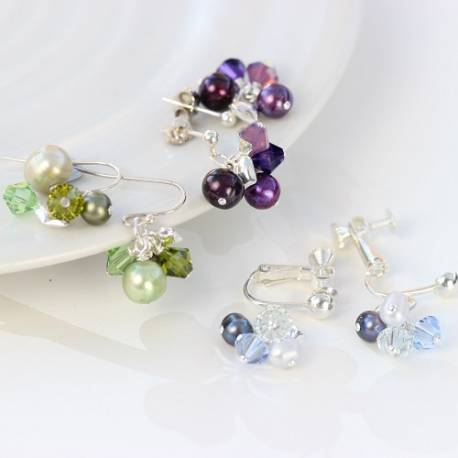 bish bosh becca handmade pearl and swarovski crystal cluster earrings on silver studs, fish hooks or clipon for non pierced ears