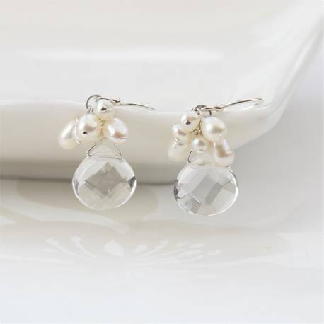 handmade crystal teardrop and pearl earrings, on silver fish hooks, studs or clipon, a beautiful birthday gift for her