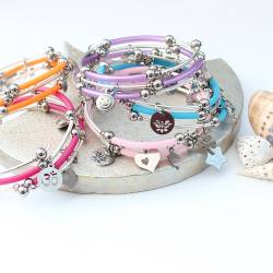 wrap bracelets with heart, star, butterfly, dolphin, emoji, lotus and om charms, brightly coloured fun jewellery for summer