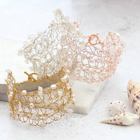 handmade filigree crochet cuff in silver,rose gold or gold with pearl, moonstone and crystal gemstone,delicate jewellery gift