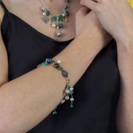 handmade gemstone and cloisonne bead charm bracelet in turquoise green, summer jewellery she will love