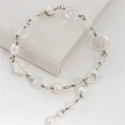 handmade white pearl and crystal bracelet on silver, delicate jewellery gift idea for her