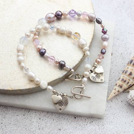 Luna personalised white or pastel pearl and crystal charm bracelet, jewellery gift ideas for her birthday