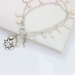 white pearl and silver coin charm double stranded chain bracelet, handmade delicate jewellery gift ideas