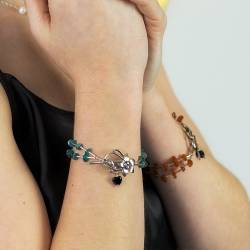 handmade delicate gemstone and sterling silver bracelet with decorative lily flower clasp, unusual jewellery gifts