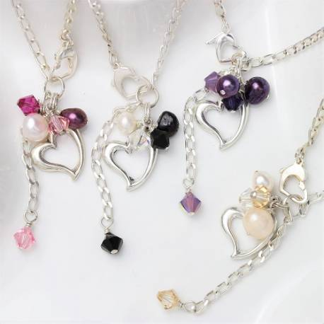 sterling silver heart bracelet with pearl and Swarovski crystal in many colours, perfect gift ideas for bridemaids